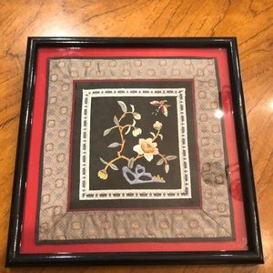 Vintage framed Asian silk square. EUC!